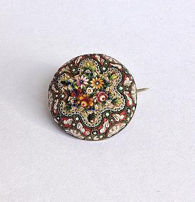 Italian circular micro mosaic pin, 19th century