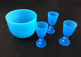 French blue Opaline bowl and glasses, 19th c