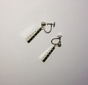 Arvo Saarela Scandinavian 50's earrings, silver & wood