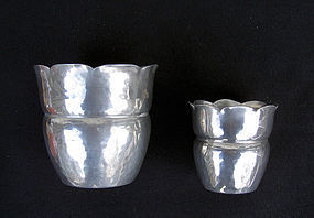 Two Danish Déco pewter vases, c 1930