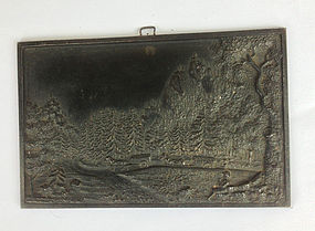 Cast iron miniature plaque, signed, Germany, 19th c