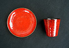 1950's Italian enamel small cup and saucer dish
