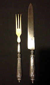 Carving set from the 1880's, French silver and ivory