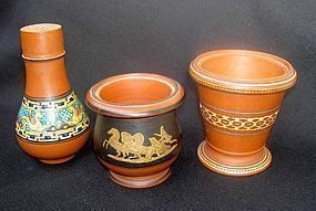 Three small Rosso Antico pieces, Victorian