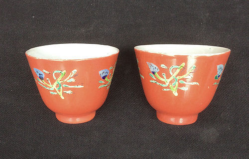 Coral red tea bowl, antique, Japanese?