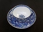English tea bowl & saucer in the Willow pattern, c 1800