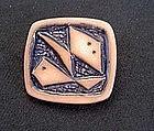 Zodiac vintage ceramic brooch