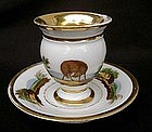 French cup and saucer with decoration of a fox