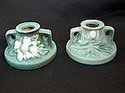 Pair of Roseville Cosmos candle holders