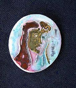 Provencal lady vintage pottery pendant