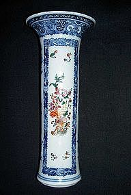 Chinese blue and white, enamelled trumpet vase