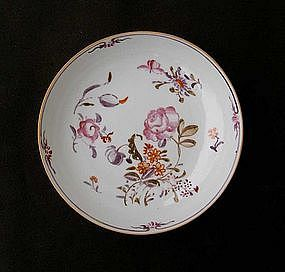 Chinese Export saucer, possibly decorated in Europe