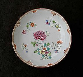 Famille Rose and Batavia brown saucer