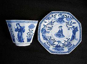 Hirado blue and white beaker and saucer plate