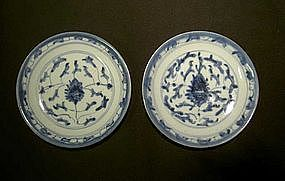 Pair of Chinese blue and white small Jiaqing plates