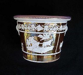 English Copper lustre flower pot
