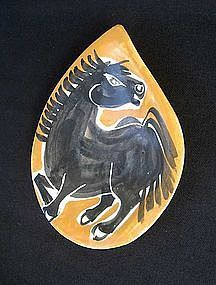 French Provencal horse decorated dish
