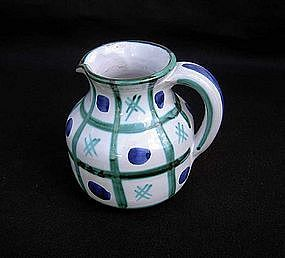 Vallauris Picault blue and green decorated jug