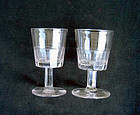 Pair of Georgian panel-cut wine glasses