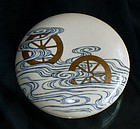 Old Enameled-Gold Japanese Satsuma Kogo or Storage Box