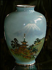Fine Japanese Cloisonne Vase with Wireless Mt Fuji