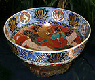 Large Japanese Imari Porcelain Bowl with Cranes