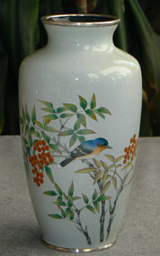 Japanese Cloisonne Enamel Vase with Bluebird