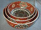 Fine Set Japanese Imari Porcelain Nesting Bowls- Meiji