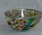 Beautiful Cloisonne Enamel Plique -a-Jour Bowl- Flowers& Butterfiles
