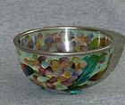 Beautiful Cloisonne Enamel Plique -a-Jour Bowl- Flowers& Butterfiles
