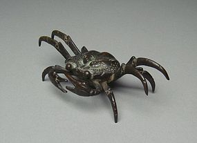 Japanese Bronze Statue Crab