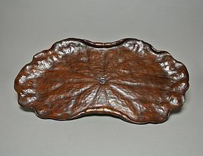 Japanese Wood Carving Leaf Tray, Habon