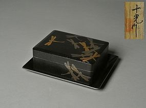 Japanese Makie Box and Tray with Dragonfly