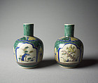 A Pair of Japanese Kutani-ware Tokkuri