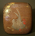Japanese Makie Cock and Hen Basket Base Box