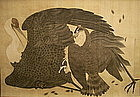 Japanese Scroll Painting Crane Hawk