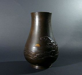 Japanese Bronze Vase,  Sun in the Rough Sea