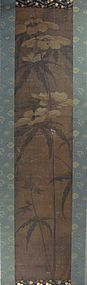 Chinese Scroll Painting Mallow Rose
