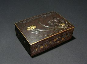 19C Japanese Iron Box with Relife and Inlay