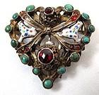 Fantastic Austro-Hungarian Silver Gilt Brooch. Heart