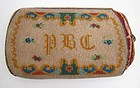 Antique Beadwork Cigar Case, Initials and Flowers