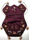 Pretty Aubergine Silk Reticule, Initials and Flowers