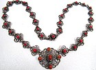 19th C Hungarian Coral and Silver Necklace