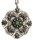 Intriguing Emerald, Turquoise, Silver, Enamel Pendant