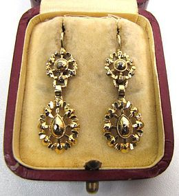 Superb Gold And Collet Set Diamond Georgian Earrings