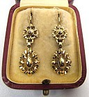 Superb Gold and Collet-Set Diamond Georgian Earrings