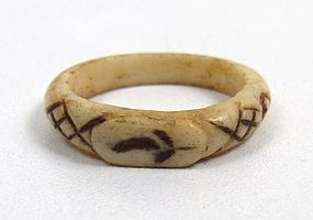 Rare Antique Carved Scrimshaw Sweetheart Ring