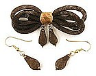 Victorian Hair Jewelry Set, Brooch & Earrings