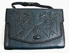 Rare Bosca Arts and Crafts Leather Clutch Purse, Blue!
