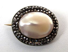 19th C Cut Steel and Faux Pearl Brooch